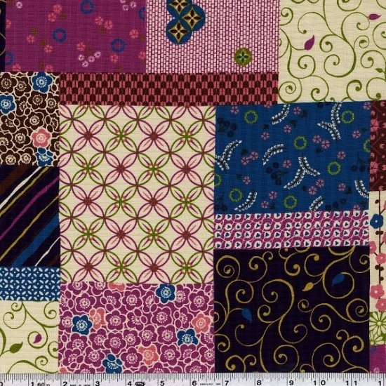 Stylish Japan - Patchwork Collage - Brown & Rose Pink