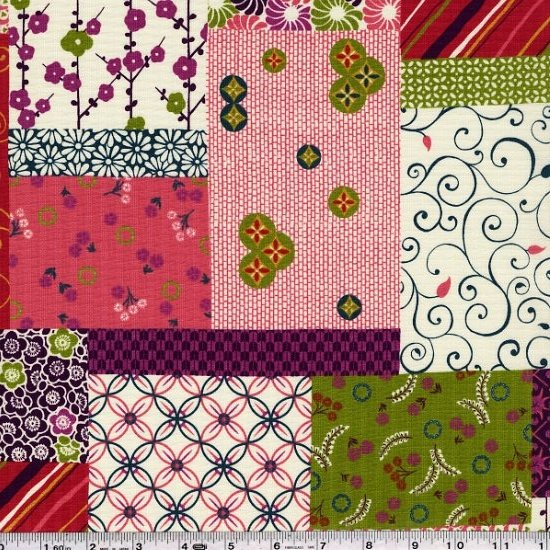 Stylish Japan - Patchwork Collage - Plum & Olive Green