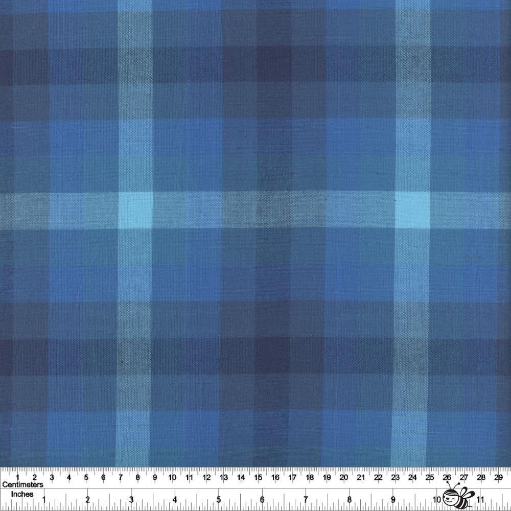 Kaleidoscope Stripes & Plaids - Plaid - Denim