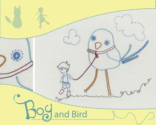 Holly Wolfe Embroidery Kit - Boy and Bird