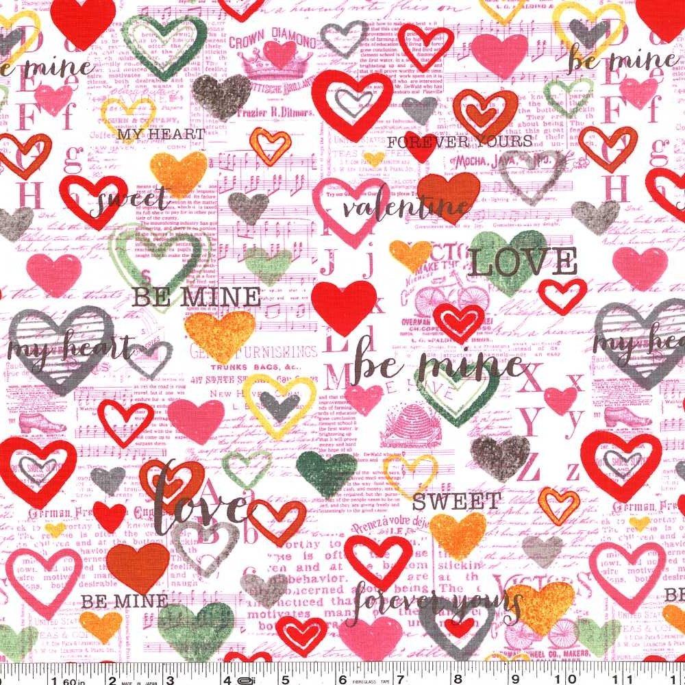 Vintage Valentine - Heart Collage - Pink