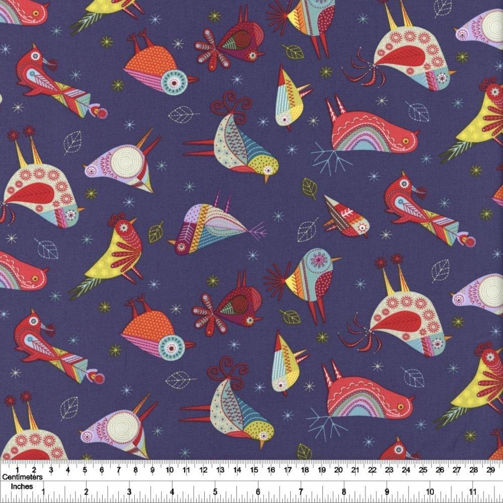 Summer Sampler - Stitch Birds - Dark Denim