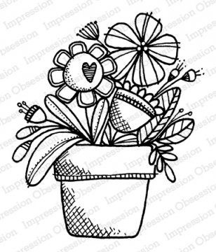 Big Flower Pot- Cling Stamp