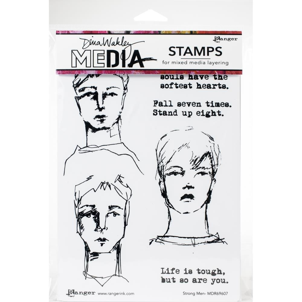 Dina Wakley Media Cling Stamps 6X9-Strong Men