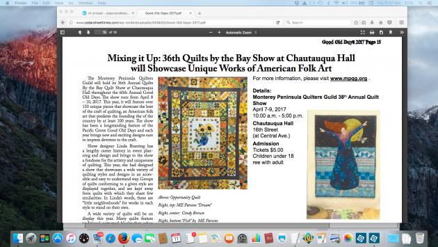 Cedar Street Times article