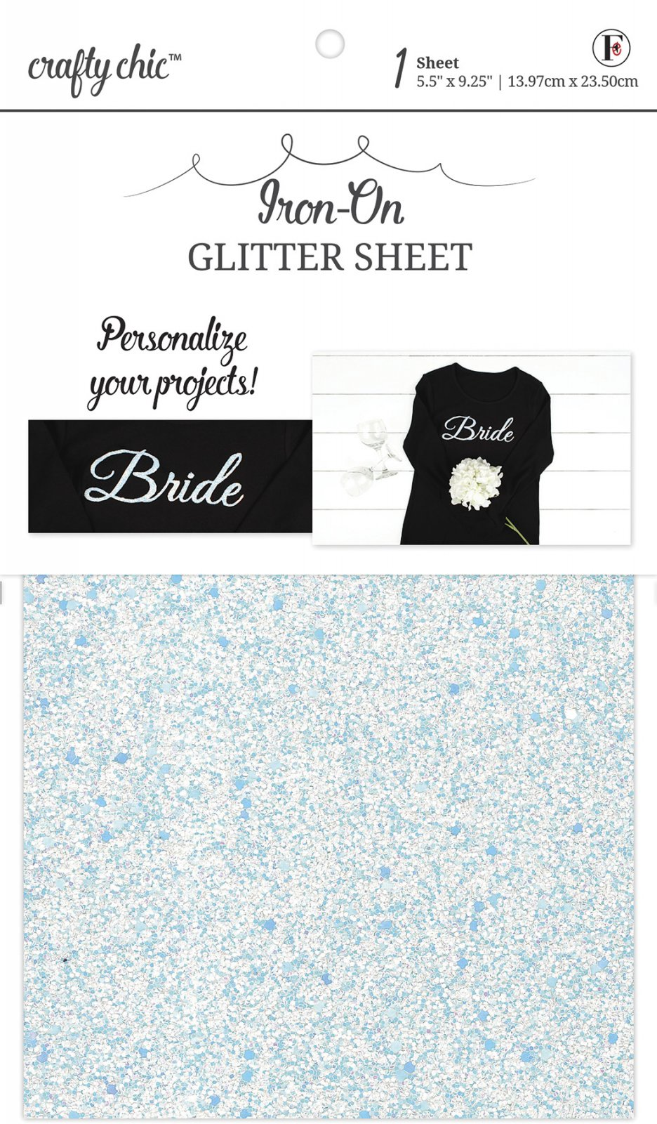 Crafty Chic <br>Iron-On Chunky White Glitter Sheet <br>CC-FS-CHNKGLTWH