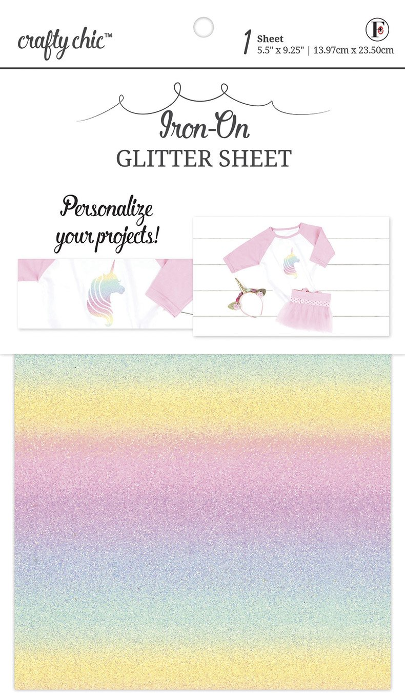 Crafty Chic <br>Iron-On Rainbow Glitter Sheet<br>CC-FS-GLTRNBOW