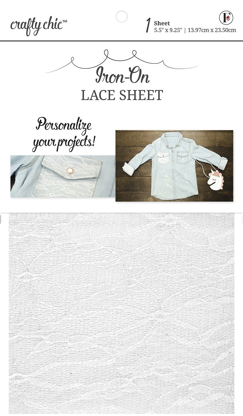 Crafty Chic <br>Iron-On White Lace Sheet <br>CC-FS-LACEWHT