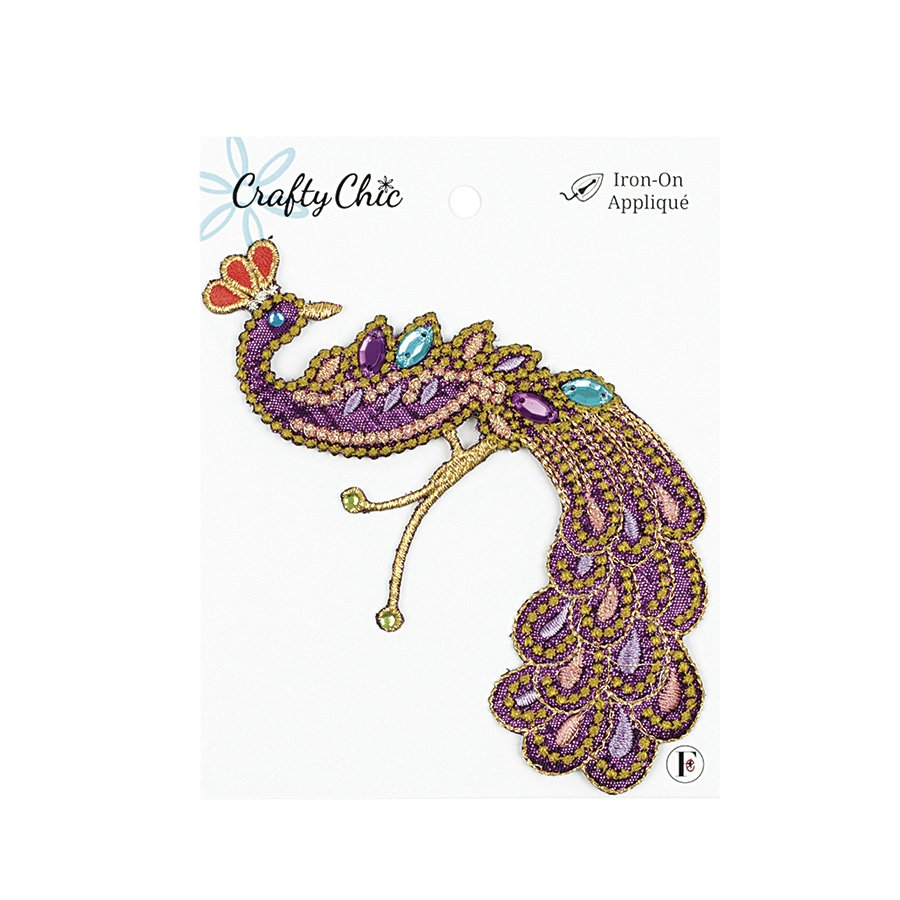 Crafty Chic <br>Iron-On Patch Peacock Embellished<br>CC-PAT-PCCK-MLT