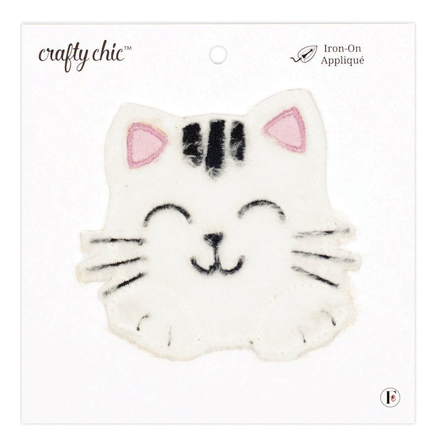Crafty Chic <br>Iron-On Patch Plush Cat<br>CC-PAT-PLSHCAT