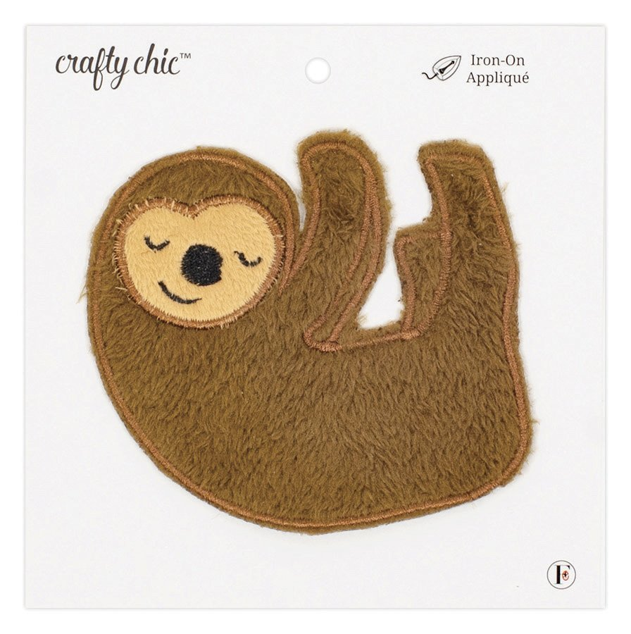 Crafty Chic <br>Iron-On Patch Plush Sloth<br>CC-PAT-PLSHSLOTH