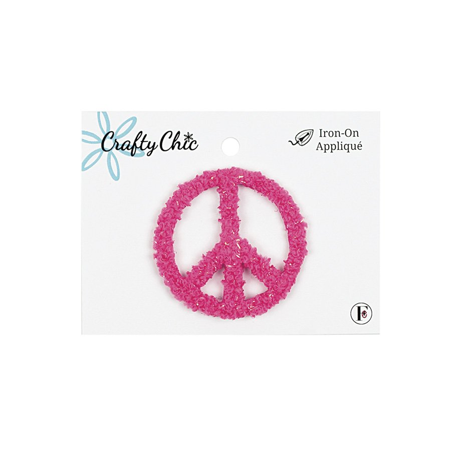 Crafty Chic <br>Iron-On Patch Peace Sign<br>CC-PAT-PSIGN-PK