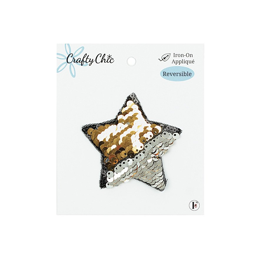 Crafty Chic <br>Iron-On Patch Reversible Sequin Star<br>CC-PAT-SQN-STAR