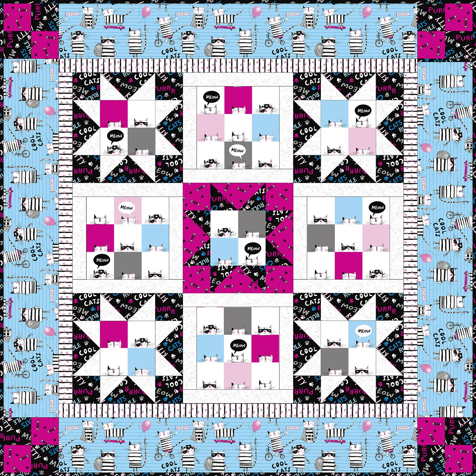 3 Wishes Fabric<br>Cool Cat Club Quilt