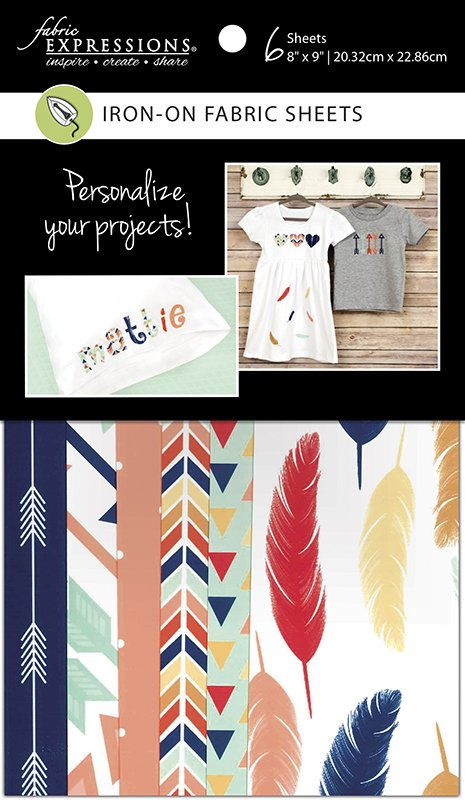 Fabric Expressions <br>6pc Iron-on Fabric Sheets - 8 x 9<br>Feathers & Arrows<br>FE-FS-GRP1