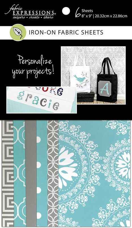 Fabric Expressions<br>6pc Iron-on Fabric Sheets - 8 x 9 <br>Gray & Turq <br>FE-FS-GRP2