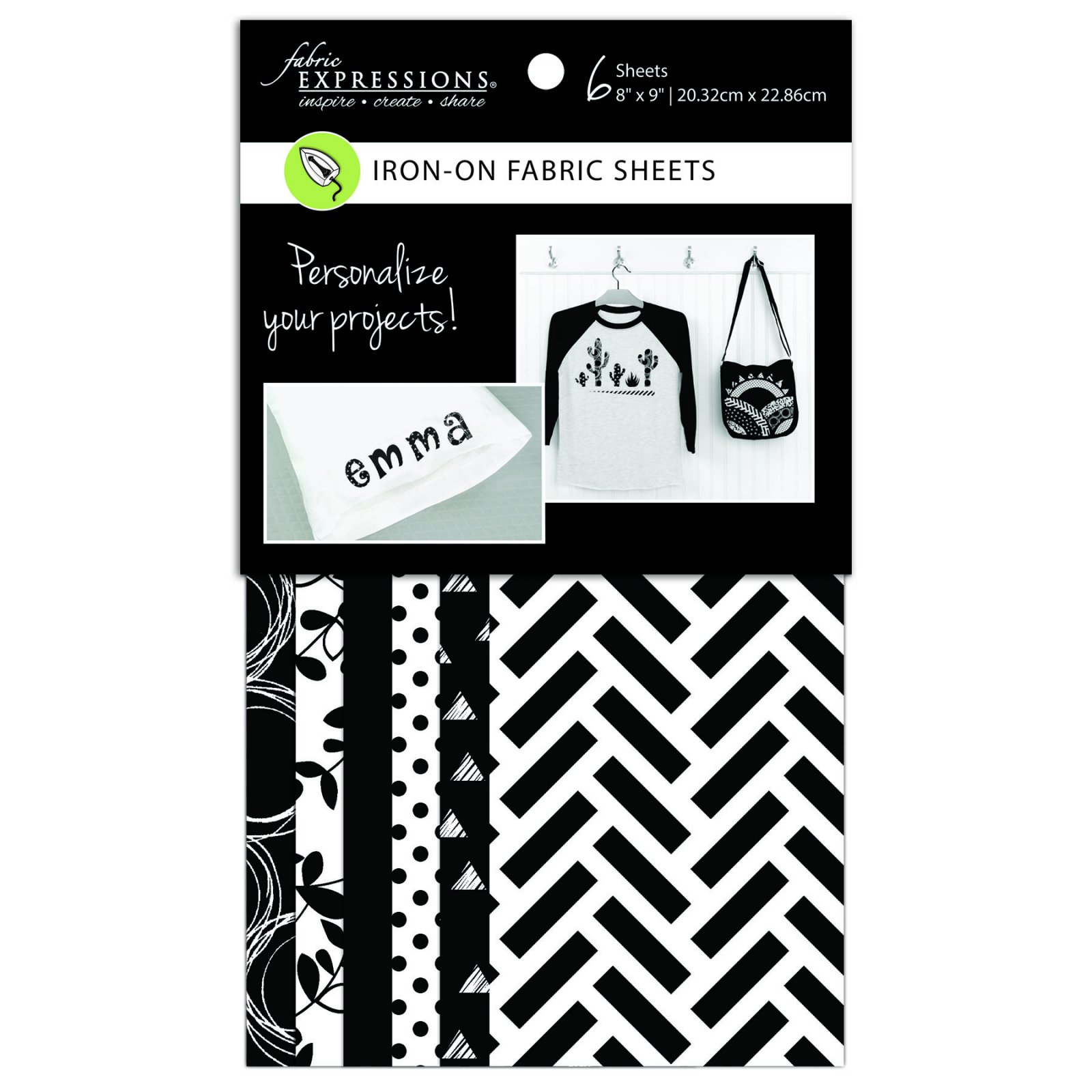 Fabric Expressions<br>6pc Iron-on Fabric Sheets - 8 x 9<br>Black & White<br>FE-FS-GRP3
