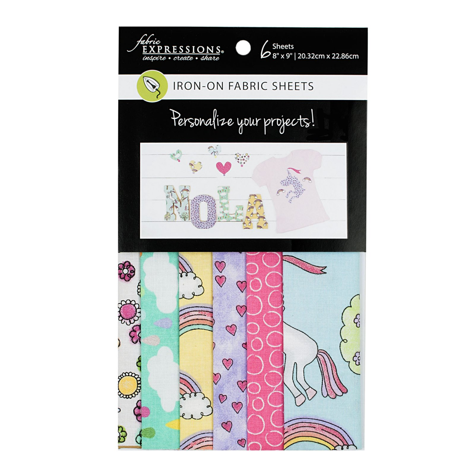 Fabric Expressions<br>6pc Iron-on Fabric Sheets - 8 x 9<br>Magical Unicorn<br>FE-FS-GRP6