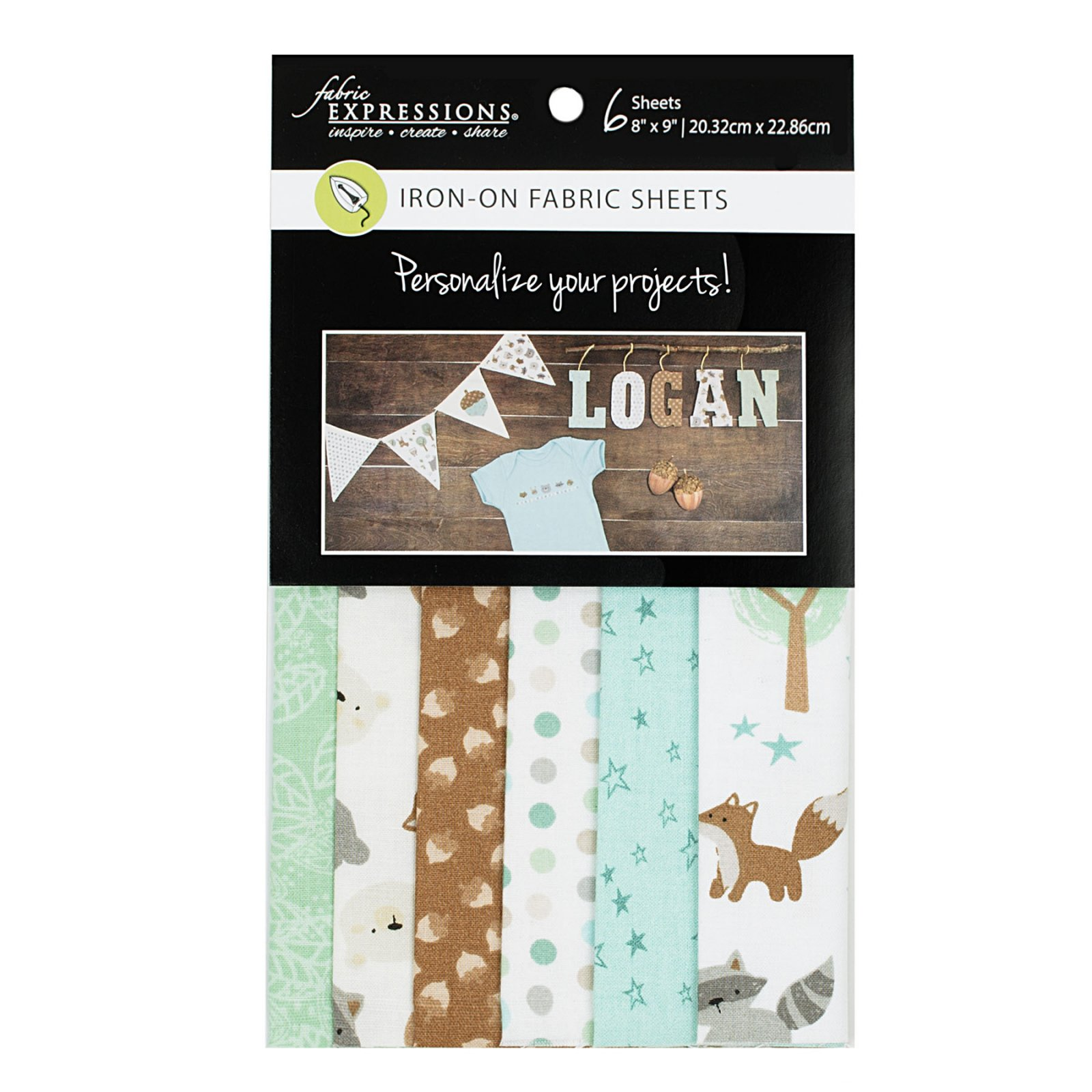 Fabric Expressions<br>6pc Iron-on Fabric Sheets - 8 x 9<br>Woodland Night<br>FE-FS-GRP7