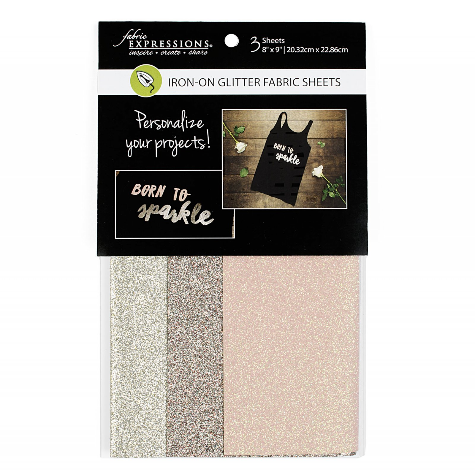 Fabric Expressions<br>6pc Iron-on Fabric Sheets - 8 x 9<br>Glitter - Fashion<br>FE-FS-SP1-GLT3PC