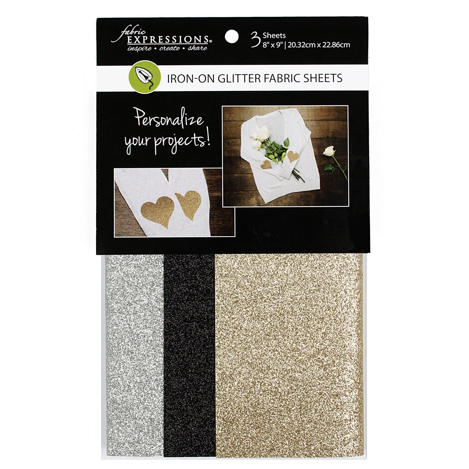 Fabric Expressions<br>6pc Iron-on Fabric Sheets - 8 x 9<br>Glitter - Basic<br>FE-FS-SP2-GLT3PC