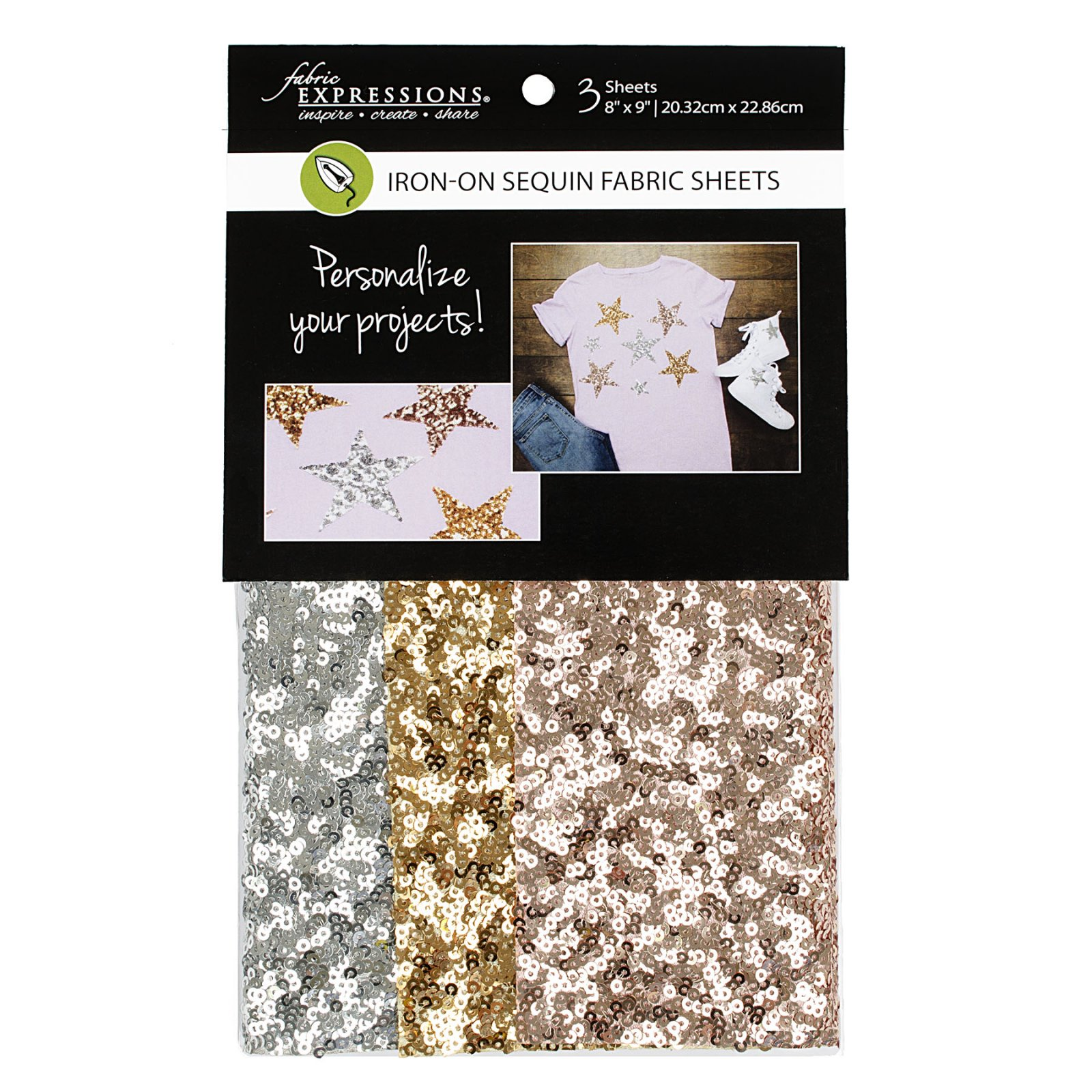 Fabric Expressions<br>6pc Iron-on Fabric Sheets - 8 x 9<br>Sequins<br>FE-FS-SP3-SEQ3PC