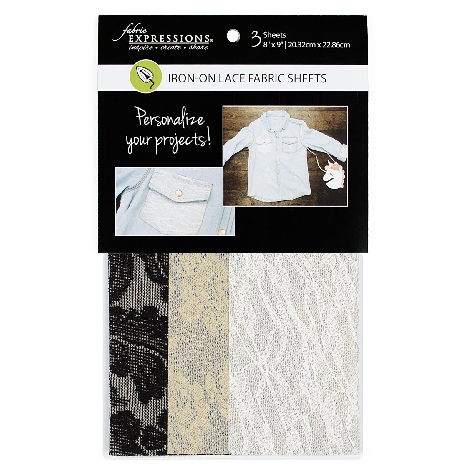 Fabric Expressions<br>Iron-on Lace Sheets<br>FE-FS-SP4-LCE3PC