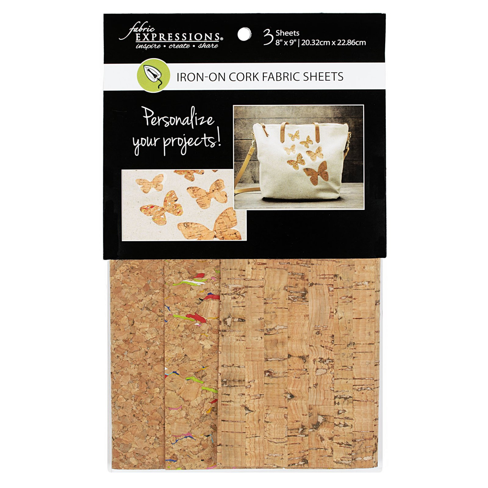 Fabric Expressions<br>6pc Iron-on Fabric Sheets - 8 x 9<br>Cork<br>FE-FS-SP5-CRK3PC