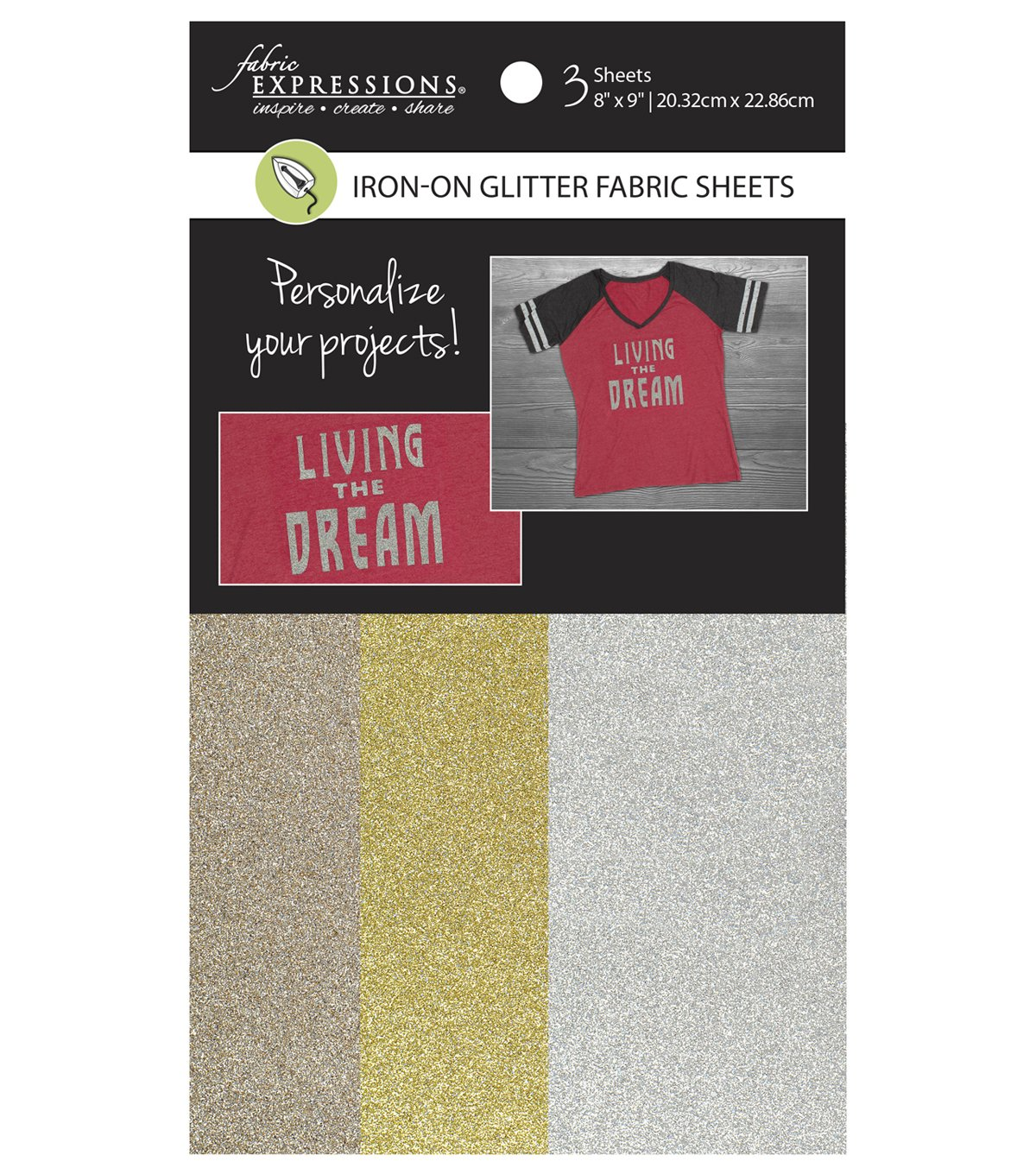 Fabric Expressions<br>Iron-On Glitter Sheets<br>FE-FS-SP8-GLT3PC