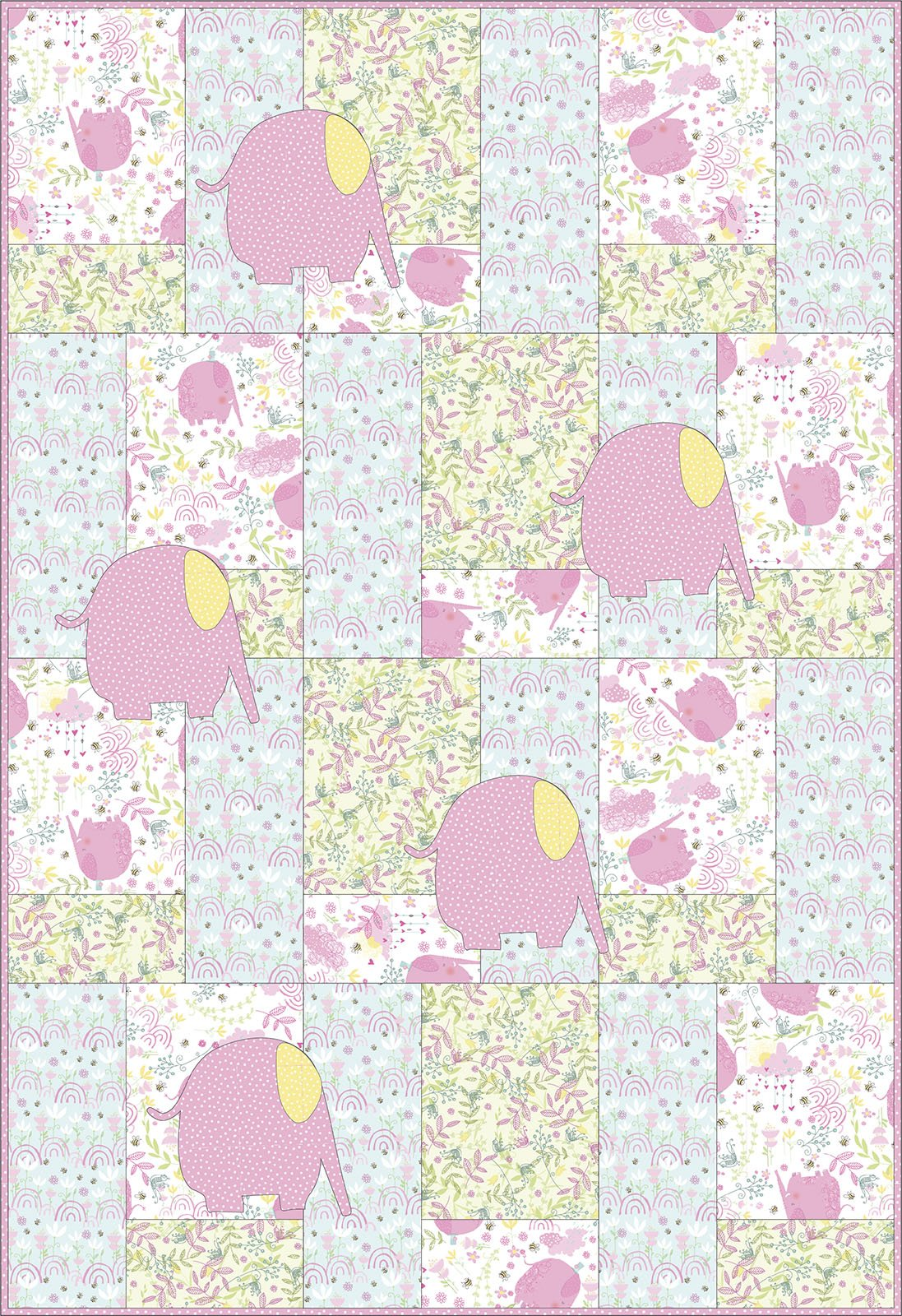 3 Wishes Fabric<br>Itty Bittys Elephant Quilt