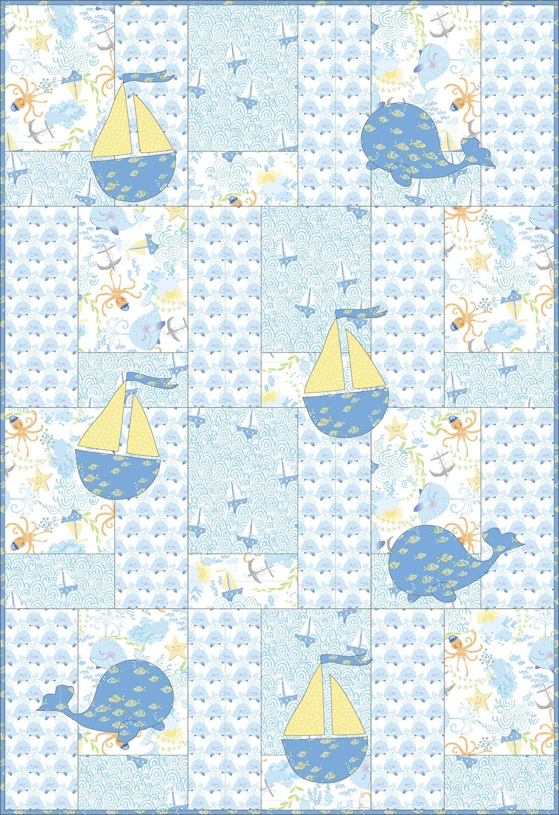 3 Wishes Fabric<br>Itty Bittys Whale Quilt