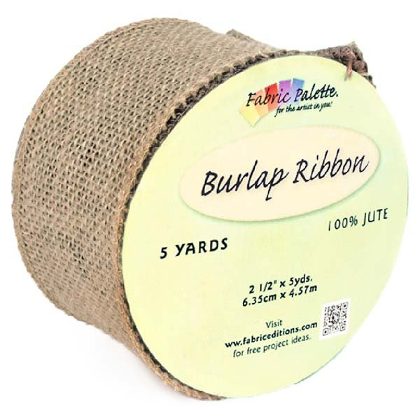 Fabric Palette Burlap Ribbon <br>Natural - 5yds<br>MD-G-BURLNAT-RIB
