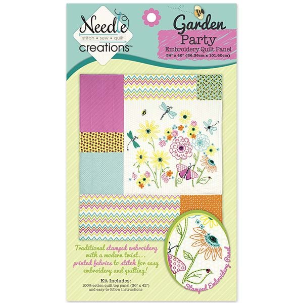 Needle Creations <br>Fusible Applique Quilt Kit <br>Garden Party Embroidery Quilt<br>MD-G-QK-GARDEN