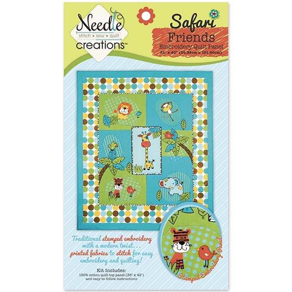 Needle Creations <br>Fusible Applique Quilt Kit<br>Safari Friends Embroidery Quilt<br>MD-G-QK-SAFAR