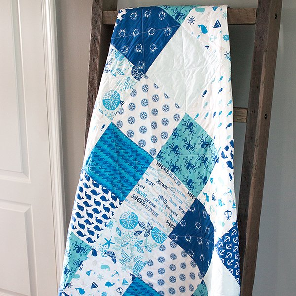 Nautical Squares Quilted Throw