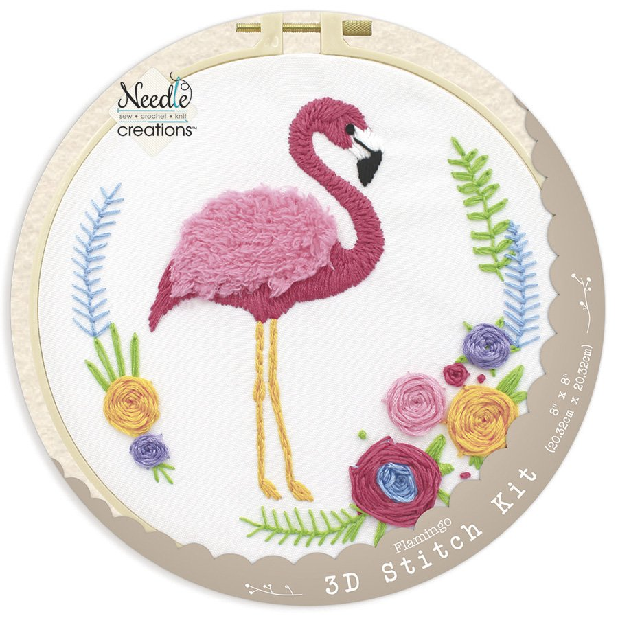 Needle Creations <br>3-D Stitchery Hoop Kit Flamingo<br>NC-3DKT-FLAMING