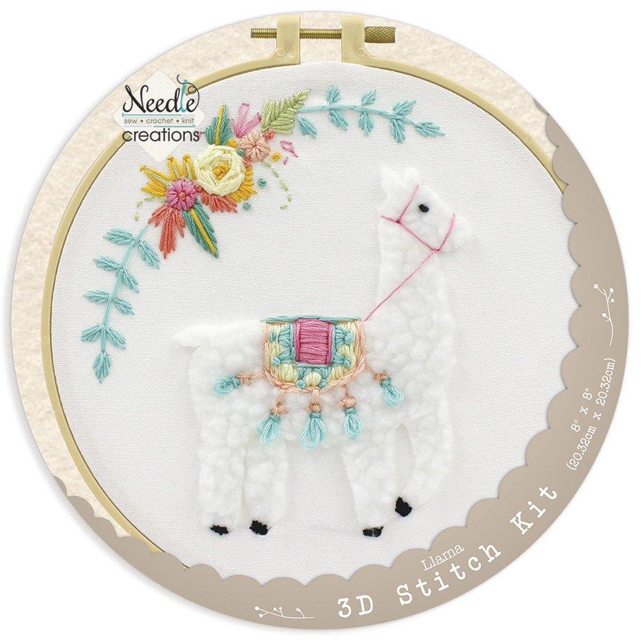 Needle Creations <br>3-D Stitchery Hoop Kit Llama <br>NC-3DKT-LLAMA