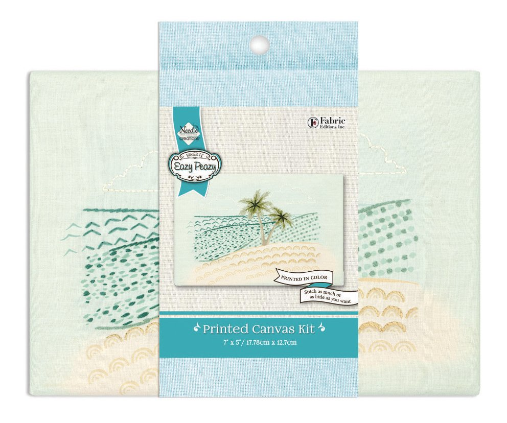 Eazy Peazy <br>Embroidery Canvas Kit Beach <br>NC-EP-TRND-23
