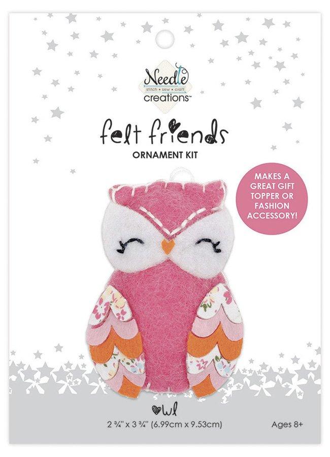 Needle Creations <br>Felt Friends Ornament Kit Owl<br>NC-FLTK-PNKOWL