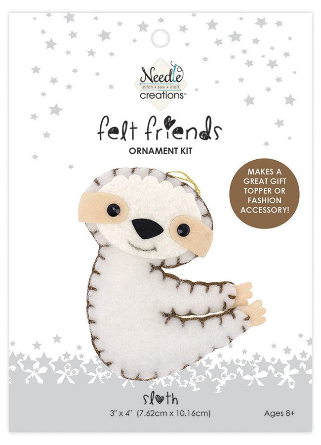 Needle Creations <br>Felt Friends Ornament Kit Sloth<br>NC-FLTK-SLOTH2