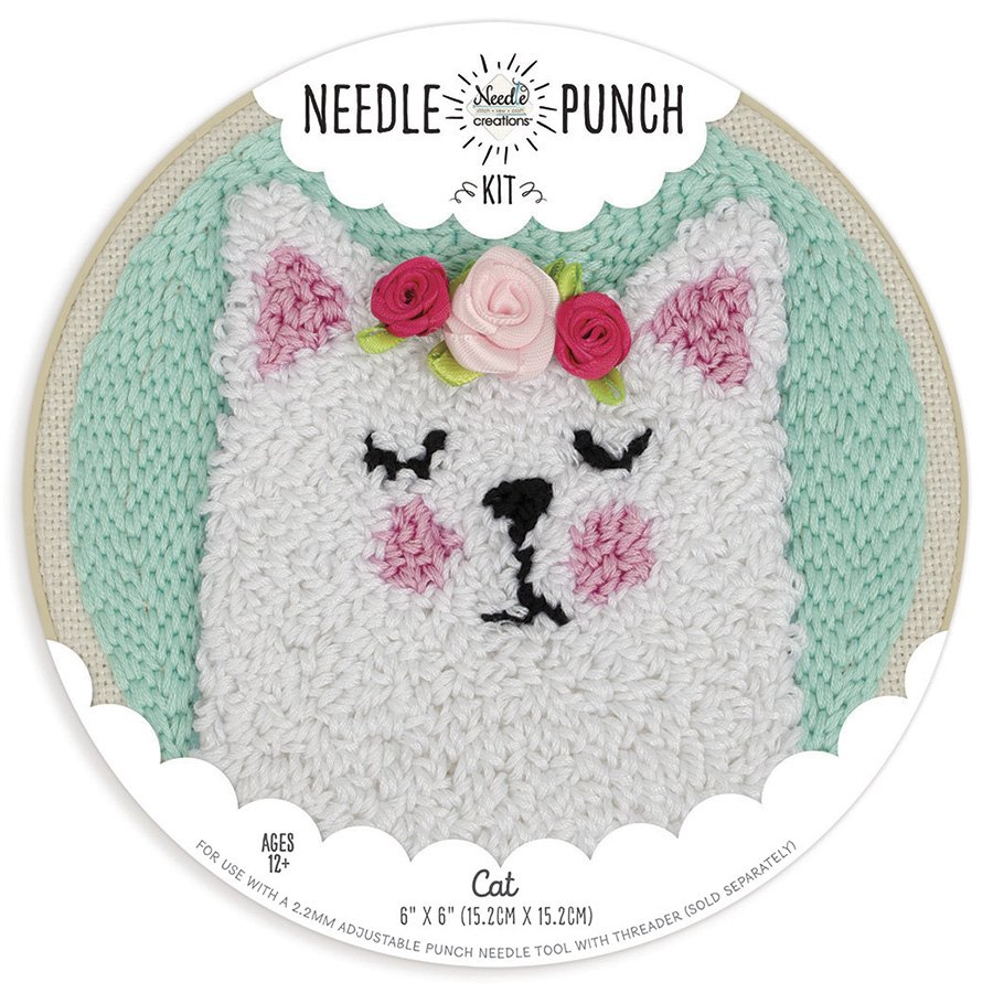 Needle Creations <br>Needle Punch Hoop Kit Cat <br>NC-PNND-CAT