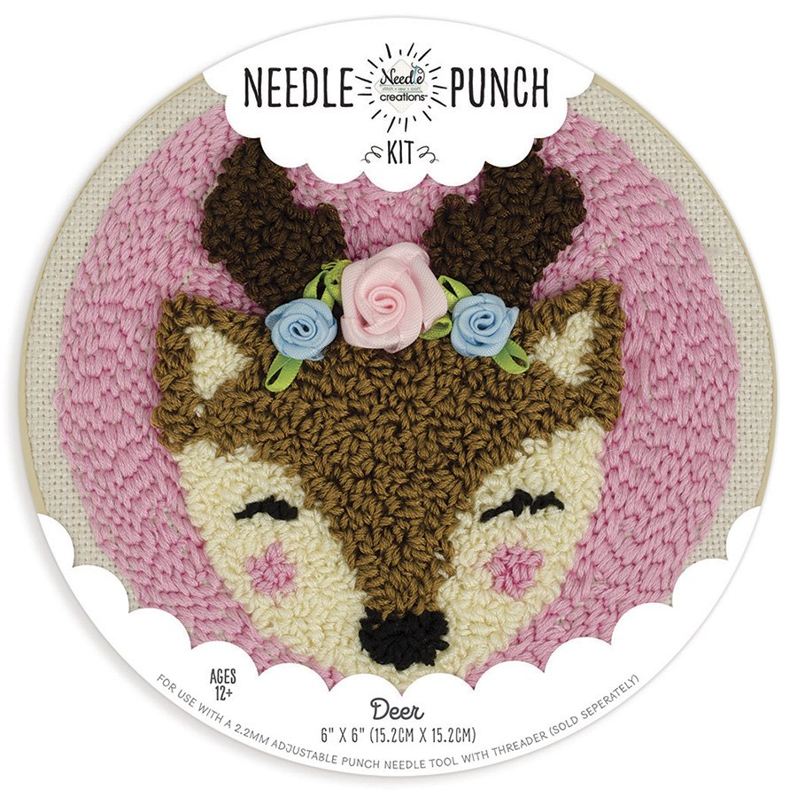 Needle Creations <br>Needle Punch Hoop Kit Deer <br>NC-PNND-DEER