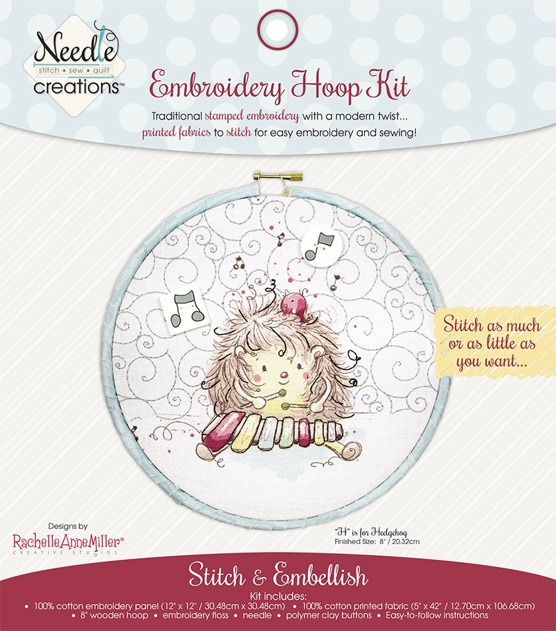 Needle Creations <br>Embroidery Hoop Kit<br>H is for Hedgehog <br>MD-NC2-HOOP-2