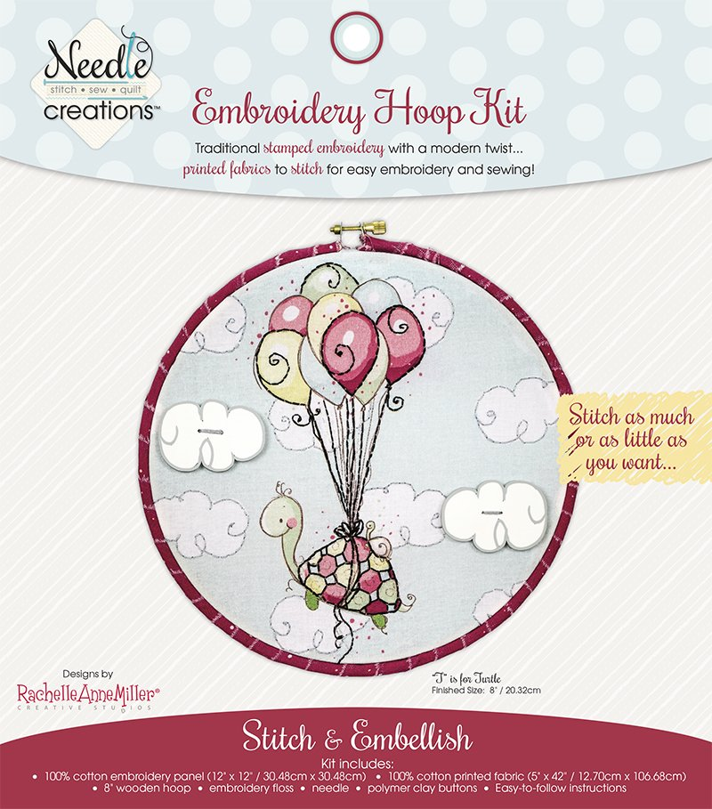 Needle Creations <br>Embroidery Hoop Kit<br>T is for Turtle <br>MD-NC2-HOOP-1