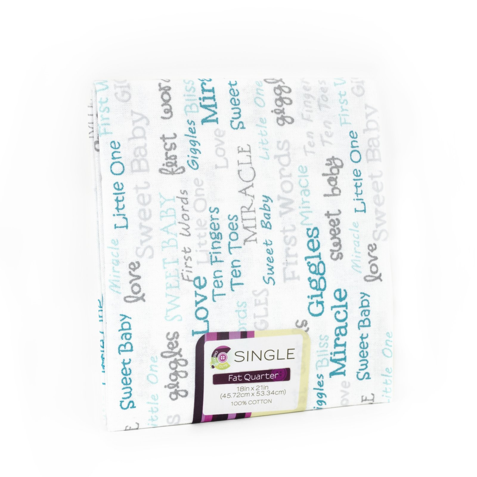 Creative Cuts Fat Quarter <br>Baby Words Aqua <br>MD-G-PC733
