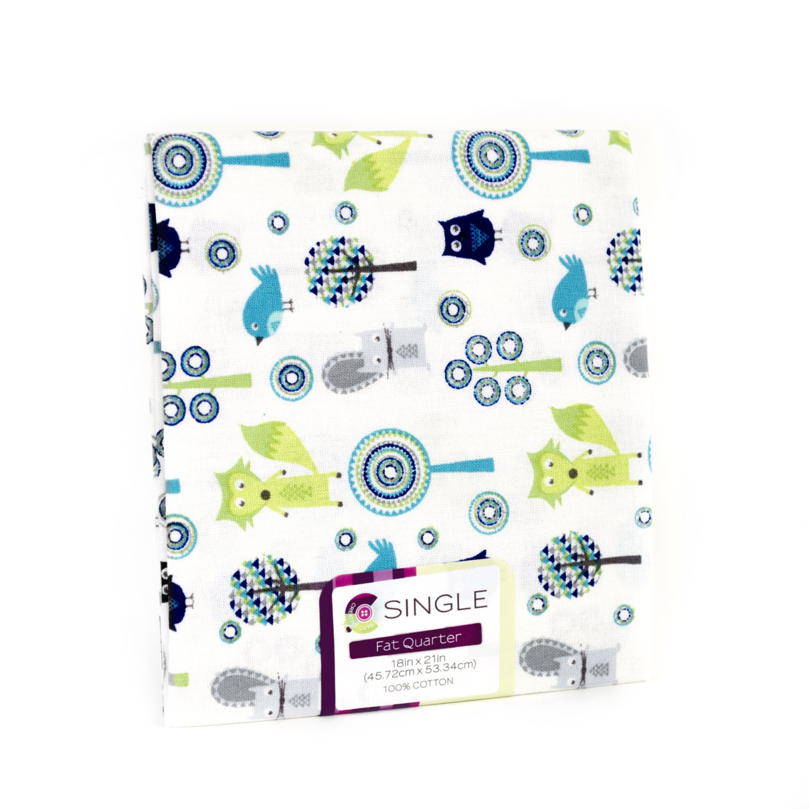 Creative Cuts Fat Quarter <br>Baby Woodland Turq <br>MD-G-PC683