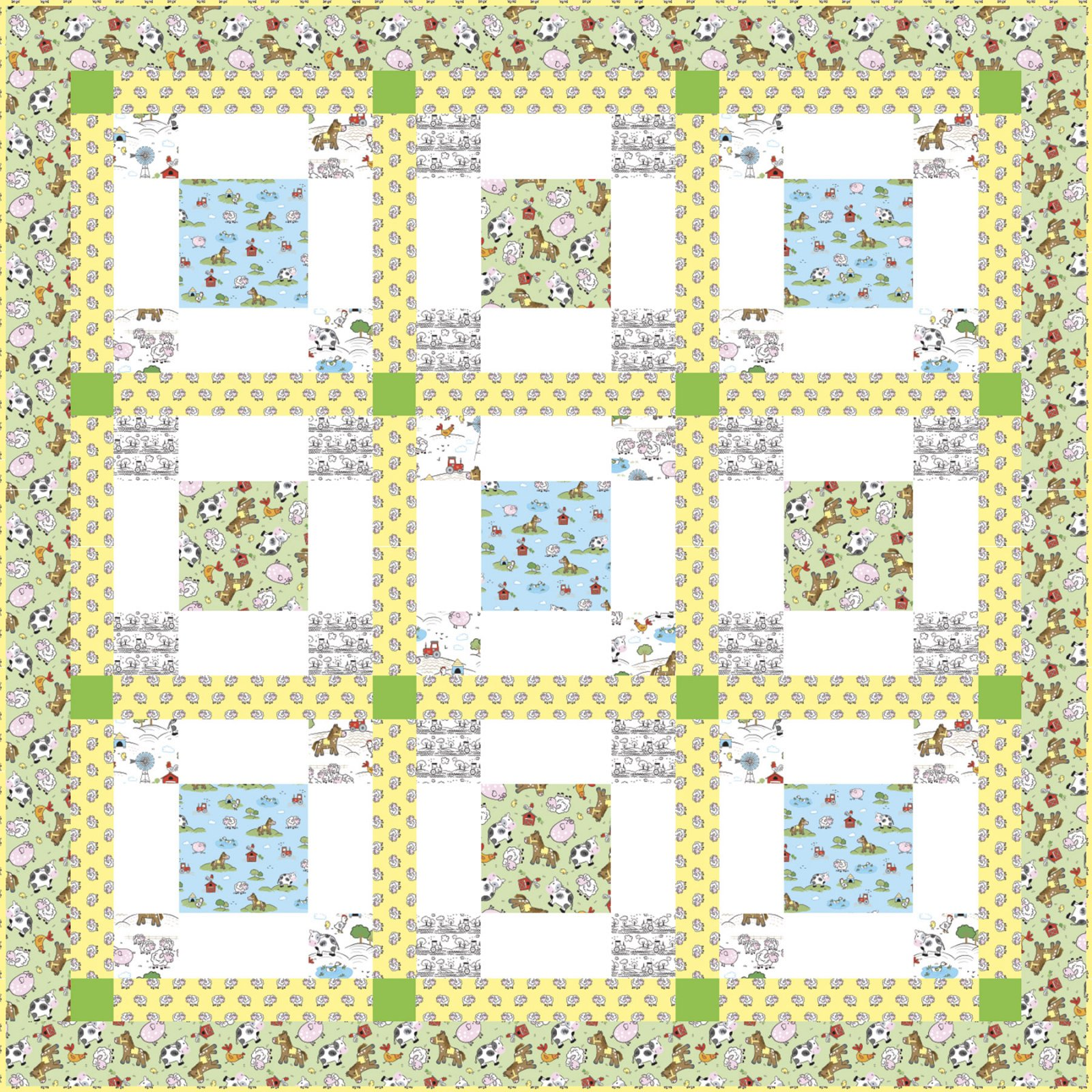 3 Wishes Fabric<br>Playful Cuties 4 Farm Quilt