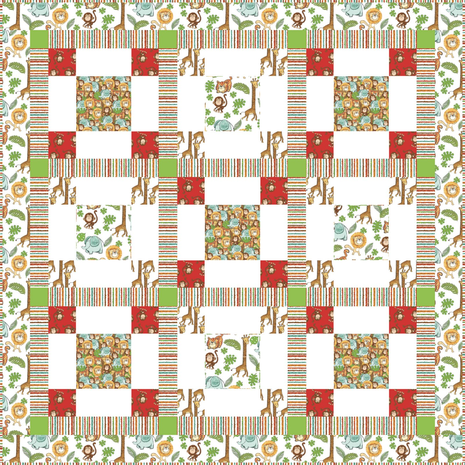 3 Wishes Fabric<br>Playful Cuties 4 Jungle Quilt