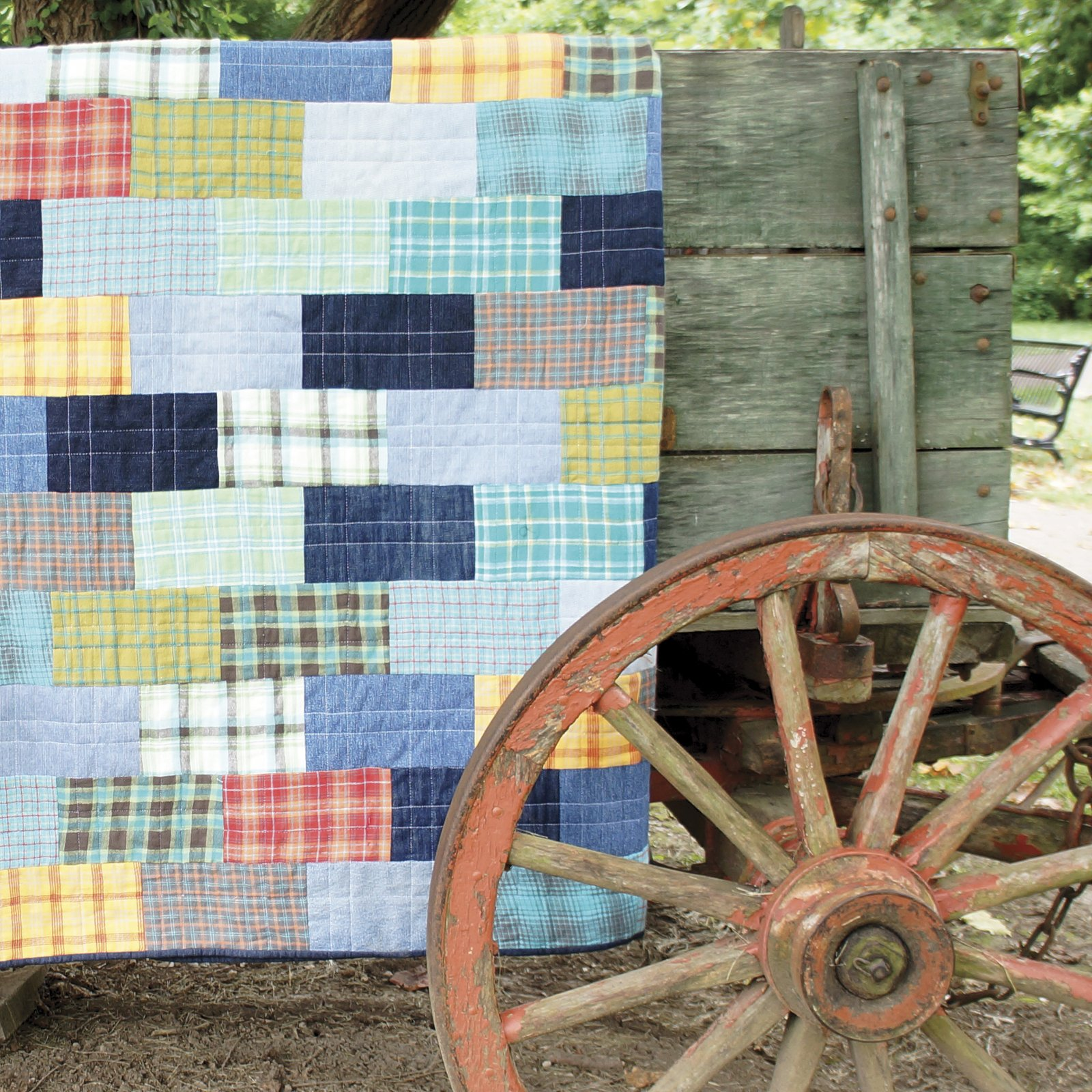 Recycled Denim and Plaid Quilt