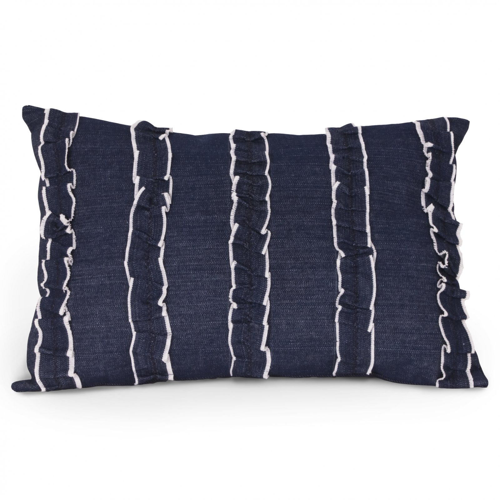 Ruffled Denim Pillow